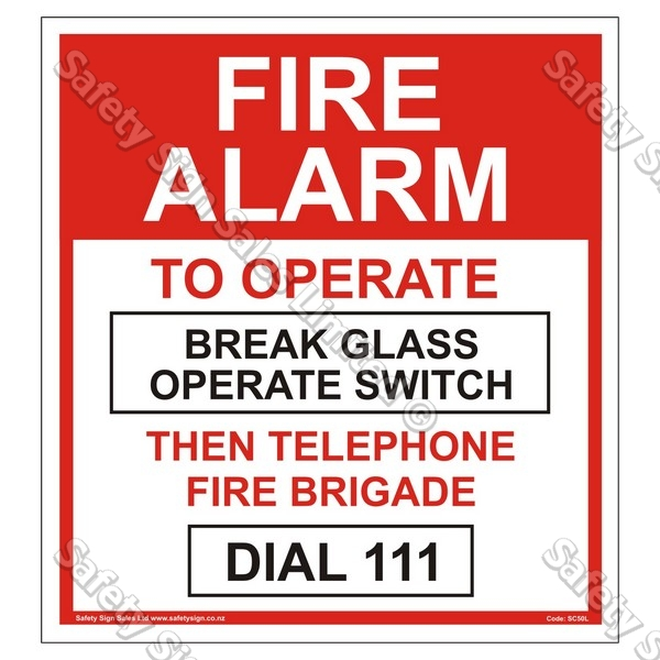 SC50L Fire Alarm Label