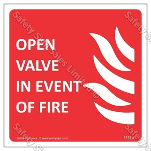 CYO FFE14 Open Valve in Event of Fire Label