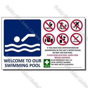 CYO|SP04 - Welcome To Our Pool Sign