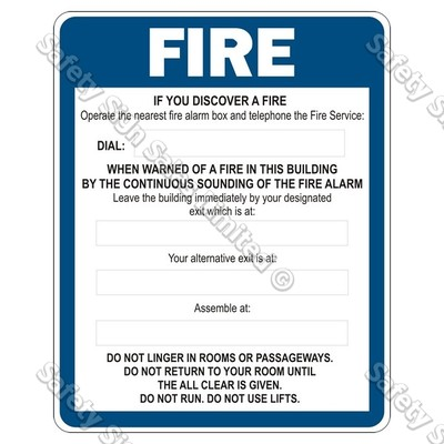 FE5 – Fire Evacuation Sign (With Alarm)