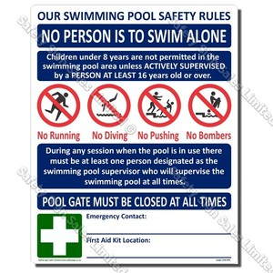SPS - POOL USER CODE SIGN 480 x 600mm