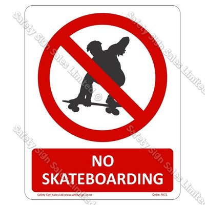 PA72 - No Skateboarding Sign