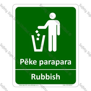 CYO|M601A - Pēke Parapara Rubbish Bilingual Sign