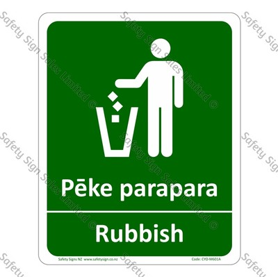 CYO|M601A - Pēke Parapara Rubbish Bilingual Sign