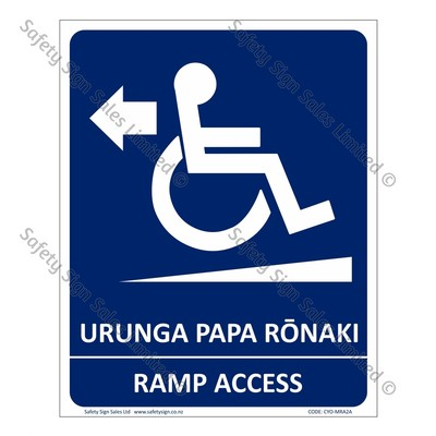 CYO|MRA2 - Ramp Access Sign Arrow Left Bilingual