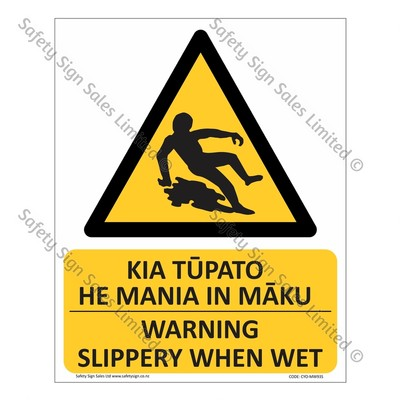 CYO-MW93S Warning. Slippery When Wet Sign