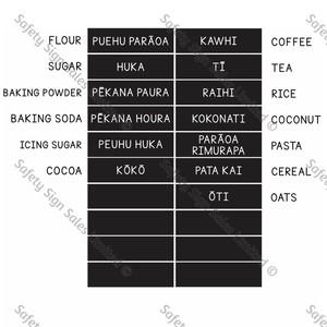 Pantry labels Te reo Maori
