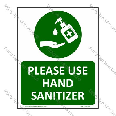 CYO|HY03A - Please use Hand Sanitizer Sign - Coronavirus COVID-19 Sign