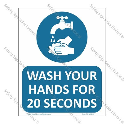 CYO|MA61LA - Wash Hands for 20 Seconds Label