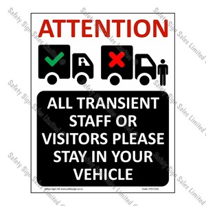 CYO|CV01 – Stay In Your Vehicle Sign