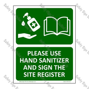 CYO|CV12 – Please use Hand Sanitizer & Sign Register Sign