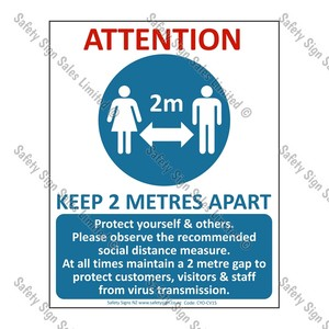 CYO|CV15 – COVID-19 Distance 2m Warning Sign