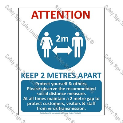 CYO|CV15 – COVID-19 Distance 2m Warning Sign