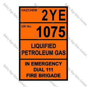 CYO|HZ03 - 2YE 1075 Liquified Petroleum Gas Hazchem Sign