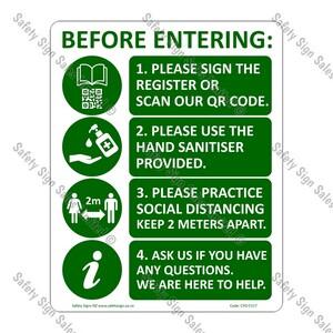 CYO|CV17 - Covid Entrance Sign