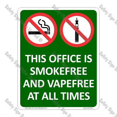 CYO|SF15 - Office Smokefree and Vapefree Sign