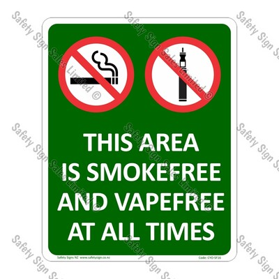 CYO|SF16 - Area Smokefree and Vapefree Sign