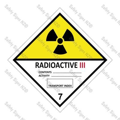 CYO|DG7.3 - Radioactive III Dangerous Goods Sign