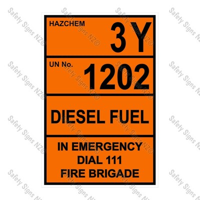 CYO|HZ08- 3Y 1202 Diesel Flash Point 60 or less Sign