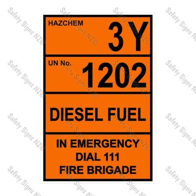 CYO|HZ08- 3Y 1202 Diesel Flash Point 60 or less Sign