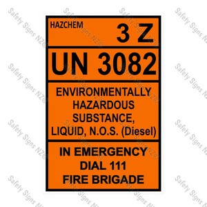 CYO|HZ10 - 3Z 3082 Diesel Flashpoint Over 60 degrees Sign