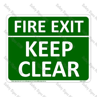 CYO|SC33 – Fire Exit Keep Clear Sign