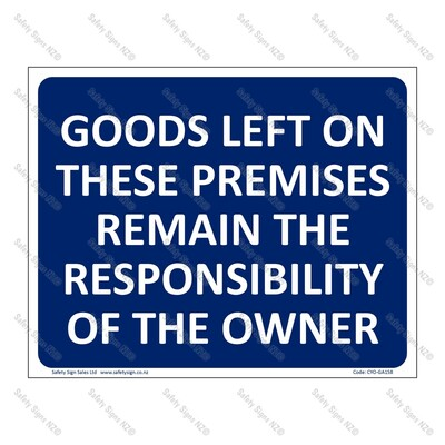 CYO|GA158 - Owner Responsibility Sign