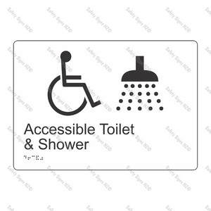 CYO|BR02 - Accessible Toilet + Shower Braille Sign 270 x 180mm