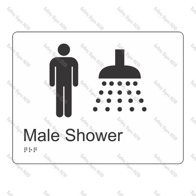 CYO|BR07 - Male Shower Braille Sign 220 x 160mm
