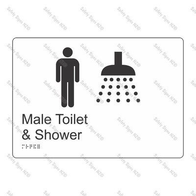 CYO|BR09 - Male Toilet + Shower Braille Sign 270 x 180mm