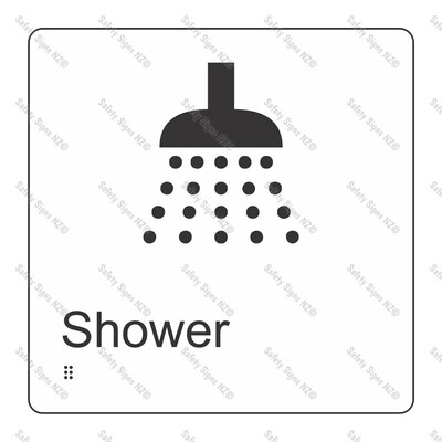 CYO|BR10 - Shower Braille Sign 160 x 160mm