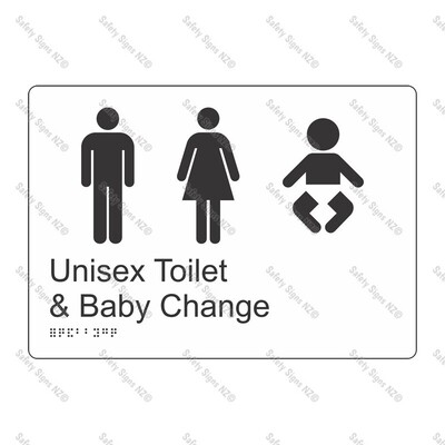 CYO|BR12 - Unisex Toilet + Baby Change Braille Sign 270 x 180mm